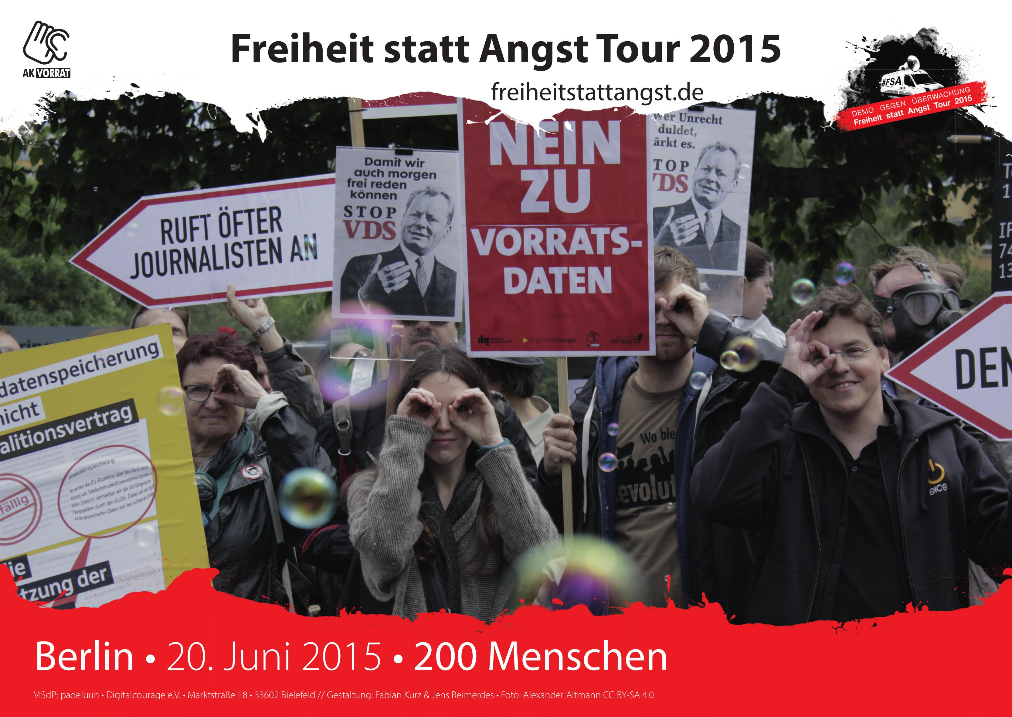 Kundgebung am 20. Juni 2015 gegen die Vorratsdatenspeicherung vor dem Willy-Brandt-Haus am Tag des SPD-Parteikonvents. Die zweite berliner Station.