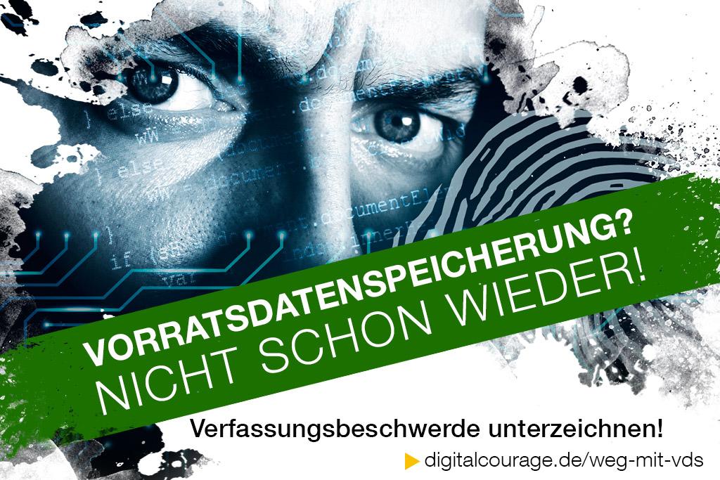 Vorratsdatenspeicherung? Nicht schon wieder! Verfassungsbeschwerde unterzeichnen! digitalcourage.de/weg-mit-vds