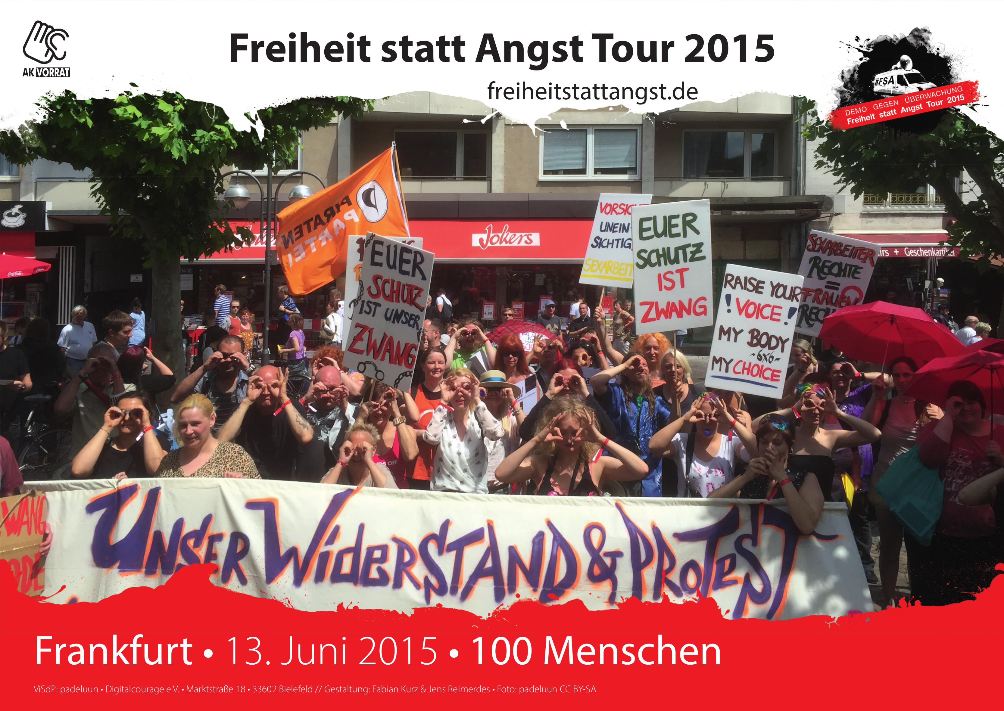 Der 13. Juni 2015 in Frankfurt bei der zweiten Station in dieser Stadt mit Hauptfokus Datenschutz und Sexarbeit.
