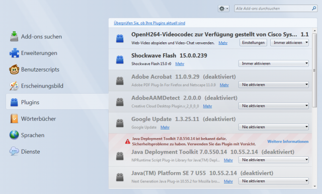 Screenshot vom Addonsmanager