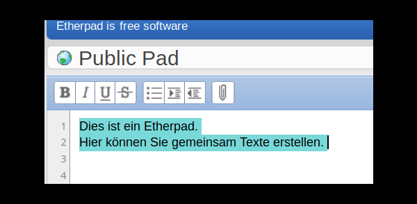 Screenshot aus einem Digitalcourage-Etherpad