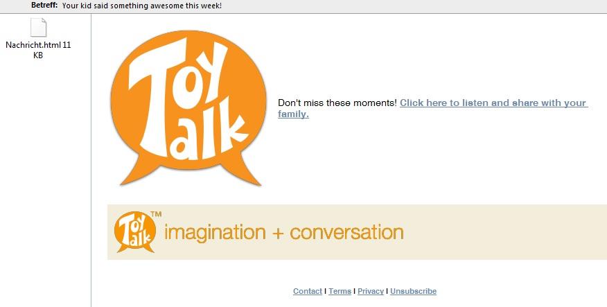 Wöchentliche Mail von Toytalk