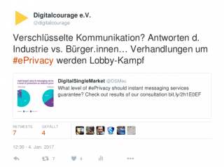 Tweet: Lobbykampf um ePrivacy